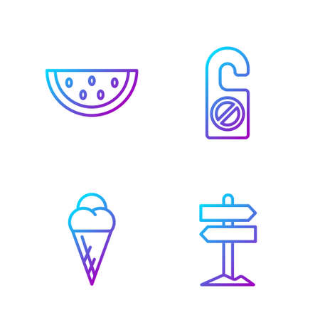 Set line Road traffic signpost, Ice cream in waffle cone, Watermelon and Please do not disturb. Gradient color icons. Vector