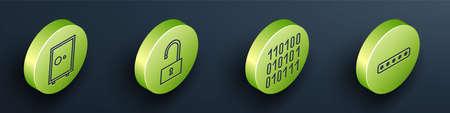 Set Isometric Safe, Open padlock, Binary code and Password protection icon. Vector Stock Illustratie