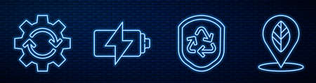 Set line Recycle symbol inside shield, Gear and arrows as workflow, Battery and Location with leaf. Glowing neon icon on brick wall. Vector