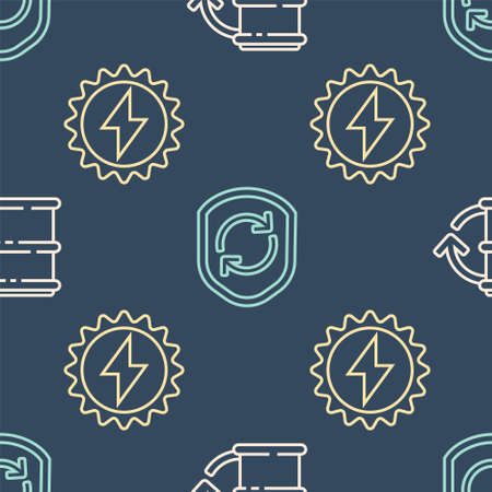 Set line Eco fuel barrel, Solar energy panel and Recycle symbol inside shield on seamless pattern. Vector Stock Illustratie