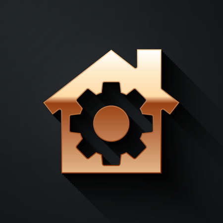 Gold House or home with gear icon isolated on black background. Adjusting, service, setting, maintenance, repair, fixing. Long shadow style. Vector Illustration