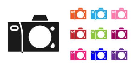 Black Photo camera icon isolated on white background. Foto camera icon. Set icons colorful. Vector Illustration
