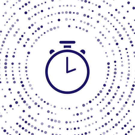 Blue Stopwatch icon isolated on white background. Time timer sign. Chronometer sign. Abstract circle random dots. Vector Illustration