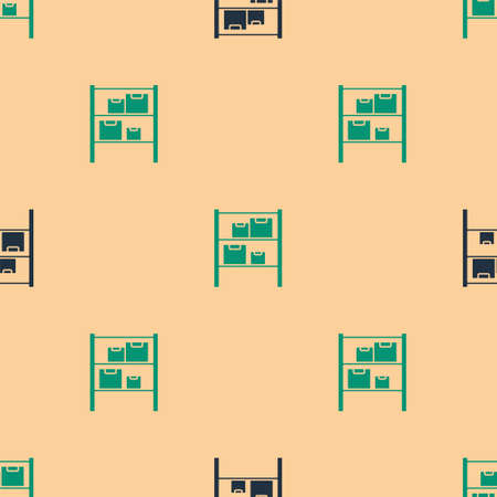 Green and black Warehouse icon isolated seamless pattern on beige background. Vector Illustration