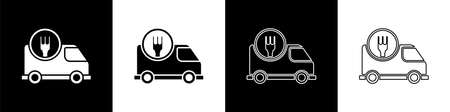 Set Fast round the clock delivery by car icon isolated on black and white background. Vector Illustration