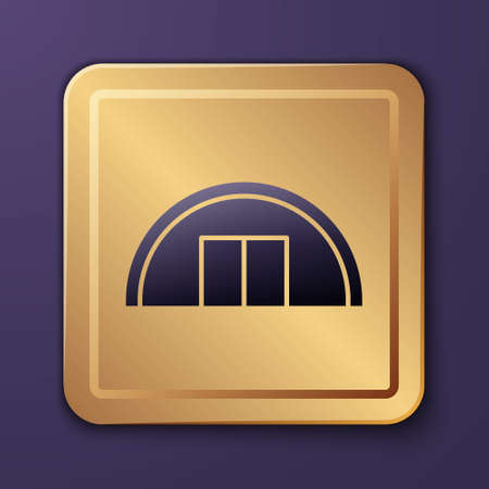 Purple Warehouse icon isolated on purple background. Gold square button. Vector Illustration