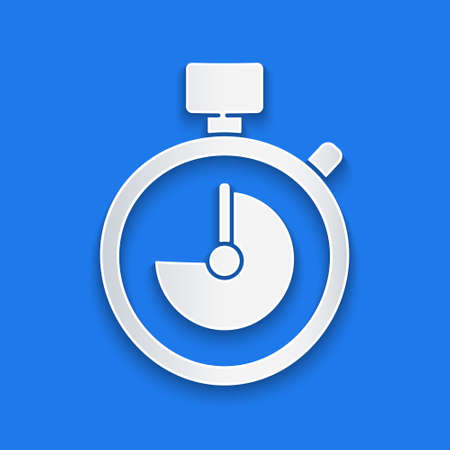 Paper cut Stopwatch icon isolated on blue background. Time timer sign. Chronometer sign. Paper art style. Vector Illustration