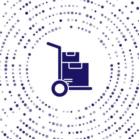 Blue Hand truck and boxes icon isolated on white background. Dolly symbol. Abstract circle random dots. Vector Illustration