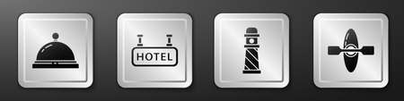 Set Hotel service bell, Signboard with text Hotel, Lighthouse and Kayak or canoe icon. Silver square button. Vector