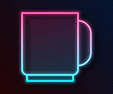 Glowing neon line Coffee cup icon isolated on black background. Tea cup. Hot drink coffee. Vector Illustration