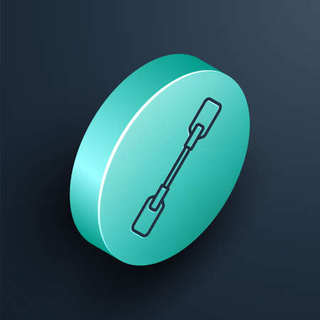 Isometric line Paddle icon isolated on black background. Paddle boat oars. Turquoise circle button. Vector Illustration