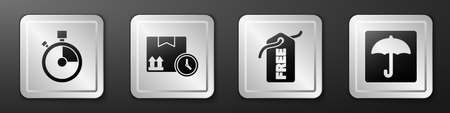 Set Fast time delivery, Cardboard box and fast time, Price tag with Free and Umbrella icon. Silver square button. Vector