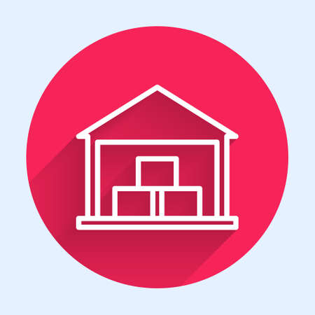 White line Warehouse icon isolated with long shadow. Red circle button. Vector Illustration