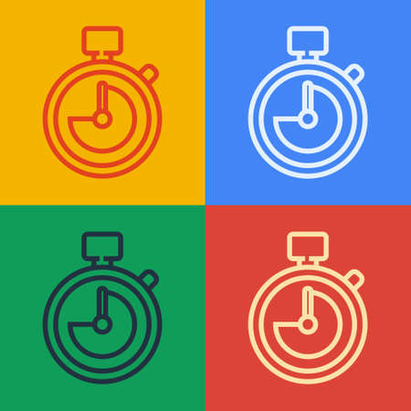 Pop art line Stopwatch icon isolated on color background. Time timer sign. Chronometer sign. Vector Illustration