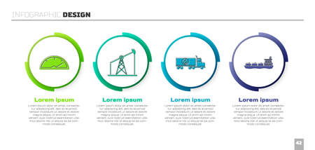 Set Speedometer, Oil pump or pump jack, Tanker truck and Oil tanker ship. Business infographic template. Vector