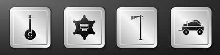 Set Banjo, Hexagram sheriff, Tomahawk axe and Wild west covered wagon icon. Silver square button. Vector Stock Illustratie
