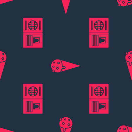 Set Passport and Ice cream in waffle cone on seamless pattern. Vector