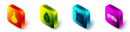 Set Isometric Oil petrol test tube, Oil drop with dollar, Canister for motor machine oil and Tanker truck icon. Vector