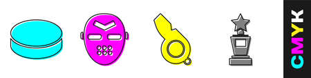 Set Hockey puck, Hockey mask, Whistle and Award cup icon. Vector