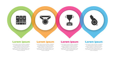 Set Locker or changing room, Medal, Award cup and Whistle. Business infographic template. Vector 일러스트