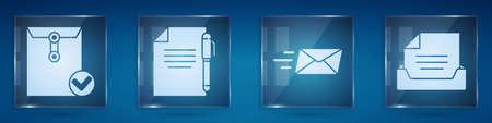 Set Envelope and check mark, Document and pen, Express envelope and Drawer with document. Square glass panels. Vector