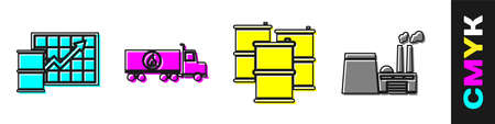 Set Oil price increase, Tanker truck, Barrel oil and Oil industrial factory building icon. Vector