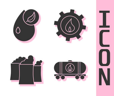 Set Oil railway cistern, Bio fuel, Oil industrial factory building and Oil industrial factory building icon. Vector