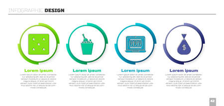 Set Game dice, Champagne in an ice bucket, Laptop and slot machine and Money bag. Business infographic template. Vector