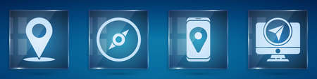 Set Location, Compass, City map navigation and Monitor with location marker. Square glass panels. Vector Ilustração