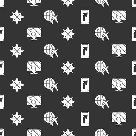 Set City map navigation, Infographic of city map navigation, Wind rose and Globe with flying plane on seamless pattern. Vector