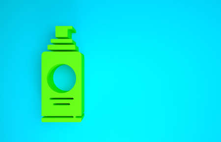 Green Spray can for hairspray, deodorant, antiperspirant icon isolated on blue background. Minimalism concept. 3d illustration 3D render