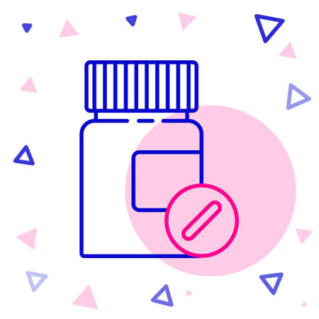 Line Medicine bottle and pills icon isolated on white background. Bottle pill sign. Pharmacy design. Colorful outline concept. Vector Illustration
