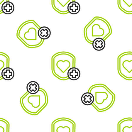 Line Shield and heart rate icon isolated seamless pattern on white background. Health protection concept. Health care. Colorful outline concept. Vector Illustration