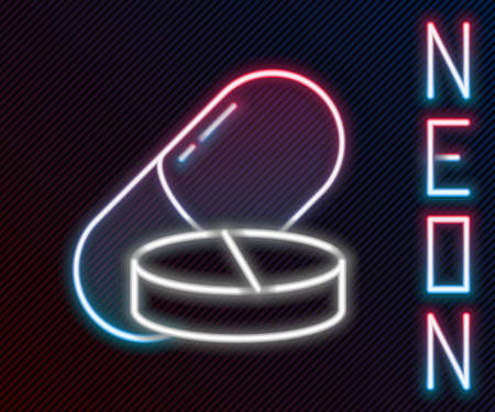 Glowing neon line Medicine pill or tablet icon isolated on black background. Capsule pill and drug sign. Pharmacy design. Colorful outline concept. Vector Illustration