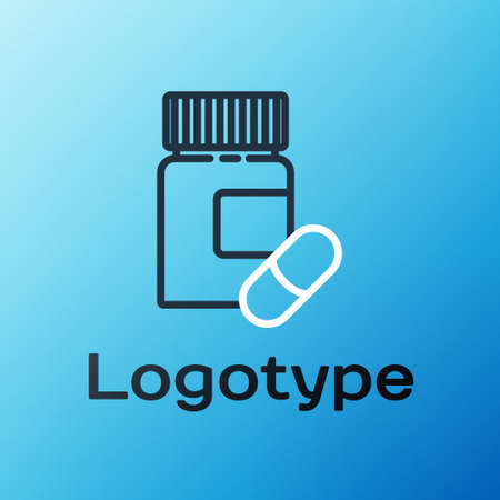 Line Medicine bottle and pills icon isolated on blue background. Bottle pill sign. Pharmacy design. Colorful outline concept. Vector Illustration