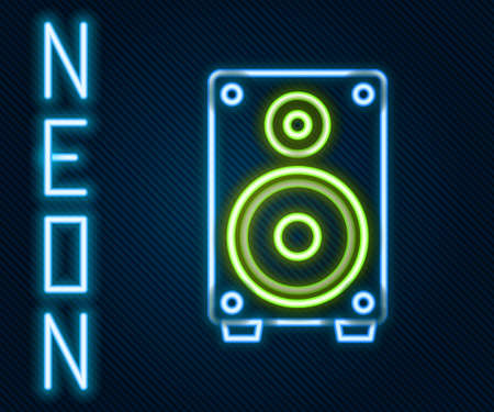 Glowing neon line Stereo speaker icon isolated on black background. Sound system speakers. Music icon. Musical column speaker bass equipment. Colorful outline concept. Vector Illustration