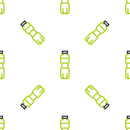 Line Bottle of water icon isolated seamless pattern on white background. Soda aqua drink sign. Vector Illustration