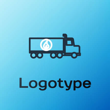 Line Tanker truck icon isolated on blue background. Petroleum tanker, petrol truck, cistern, oil trailer. Colorful outline concept. Vector Illustration