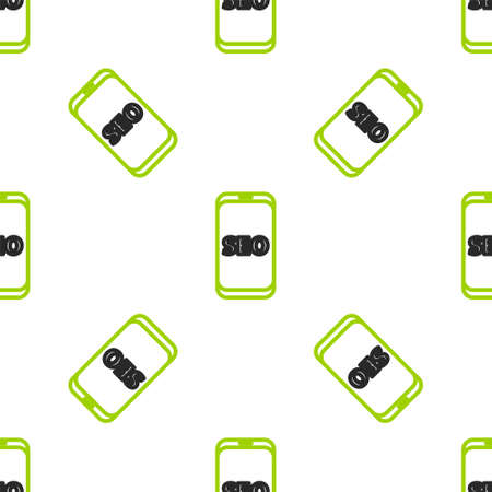 Line Mobile phone SEO optimization concept icon isolated seamless pattern on white background. Vector Illustration