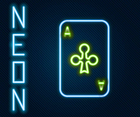 Glowing neon line Playing card with clubs symbol icon isolated on black background. Casino gambling. Colorful outline concept. Vector Illustration