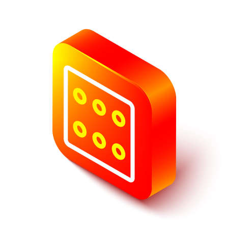 Isometric line Game dice icon isolated on white background. Casino gambling. Orange square button. Vector Illustration