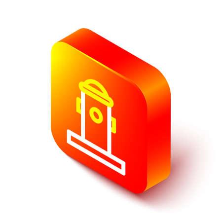 Isometric line Fire hydrant icon isolated on white background. Orange square button. Vector Illustration Ilustracja