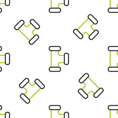 Line Industry metallic pipe icon isolated seamless pattern on white background. Plumbing pipeline parts of different shapes. Vector Illustration