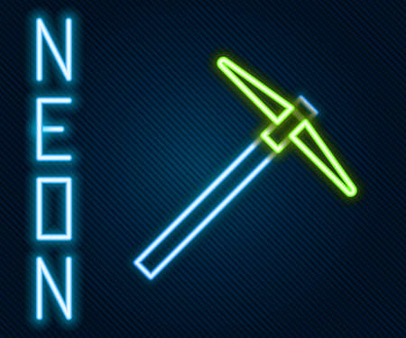 Glowing neon line Pickaxe icon isolated on black background. Colorful outline concept. Vector Illustration