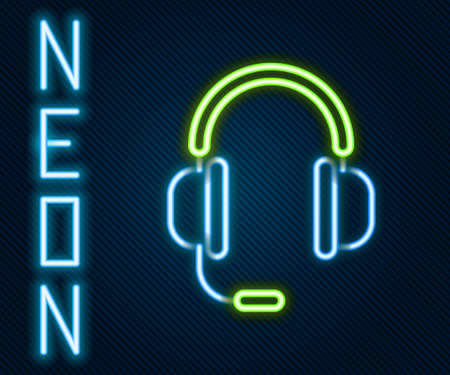Glowing neon line Headphones with microphone icon isolated on black background. Colorful outline concept. Vector Illustration 矢量图像