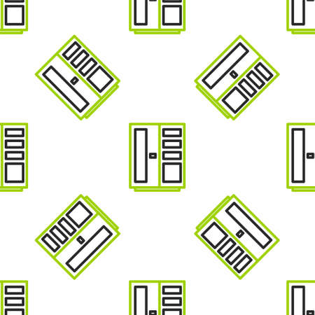 Line Wardrobe icon isolated seamless pattern on white background. Vector Illustration