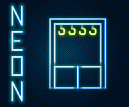 Glowing neon line Wardrobe icon isolated on black background. Colorful outline concept. Vector Illustration Illustration