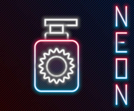 Glowing neon line Sunscreen spray bottle icon isolated on black background. Protection for the skin from solar ultraviolet light. Colorful outline concept. Vector Illustration