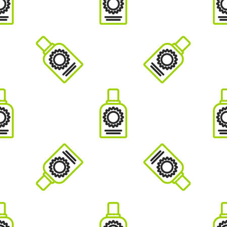 Line Sunscreen spray bottle icon isolated seamless pattern on white background. Protection for the skin from solar ultraviolet light. Vector Illustration Illusztráció