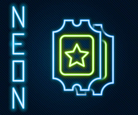 Glowing neon line Cinema ticket icon isolated on black background. Colorful outline concept. Vector Illustration
